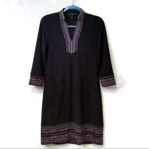 WHBM Embroidered Knit 3/4 Sleeve Shift Dress